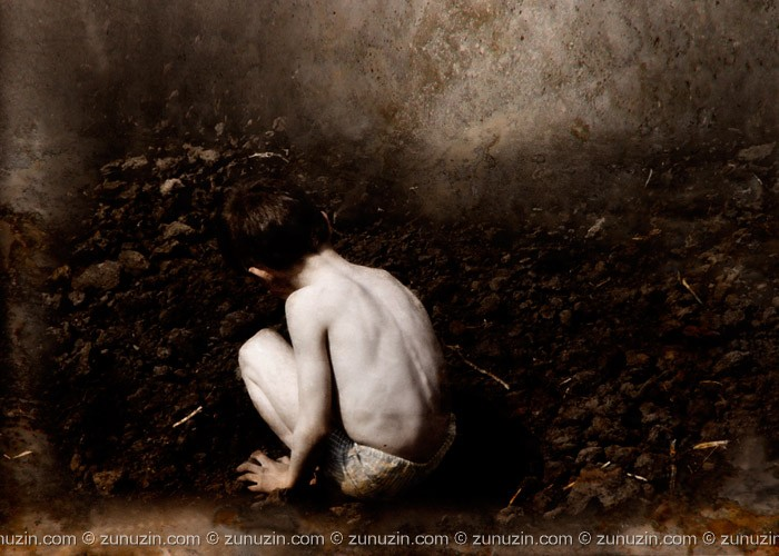 Digital art for sale - Boy collecting stones
