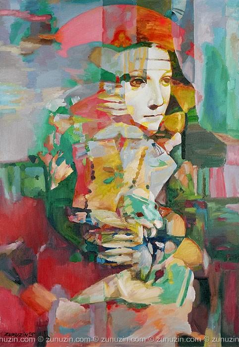Poster on canvas - Lady with ermine (Leonardo da Vinci Improvisation)