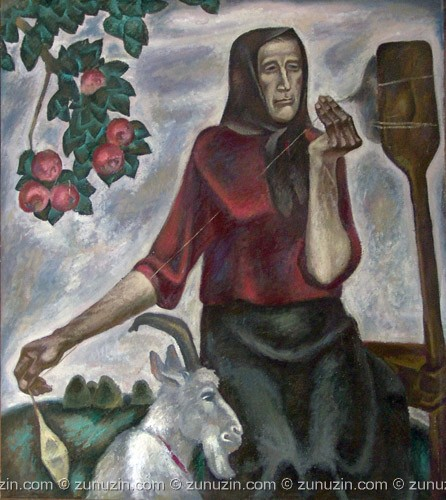 Oil painting on panel - Old woman with goat