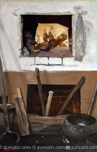 Oil painting on cardboard - Russian furnace