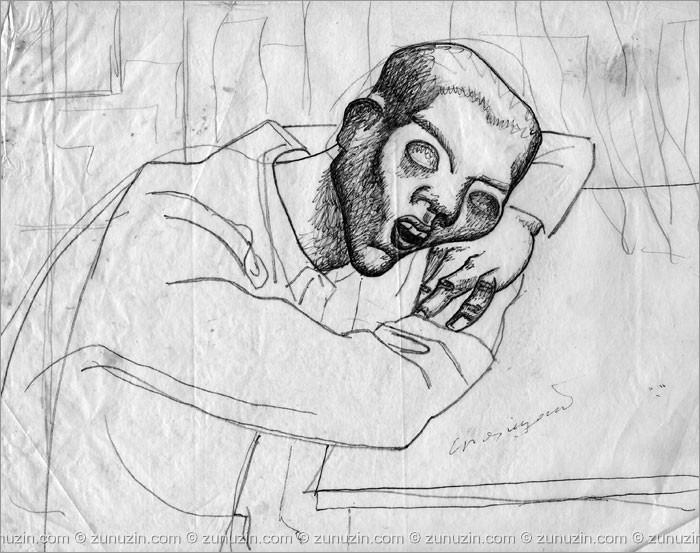 Pencil artwork - Sleeping man