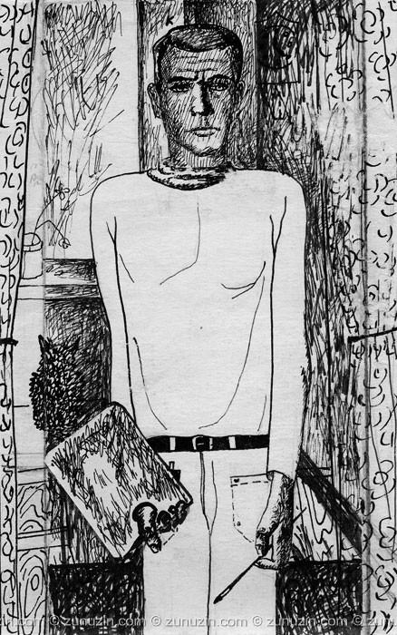 Ink on Paper Drawing - Self-portrait III
