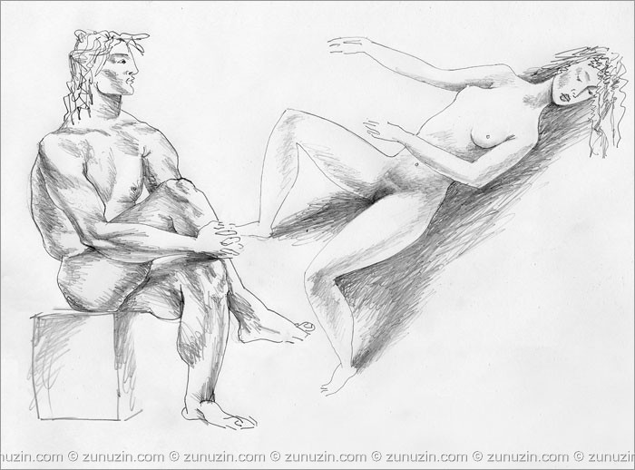 Art figure drawing - Artist and laying model