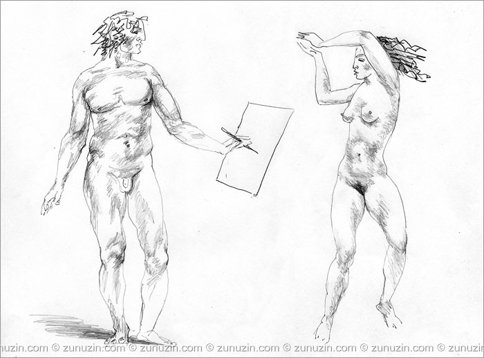 Erotic drawing - Artist and dancer