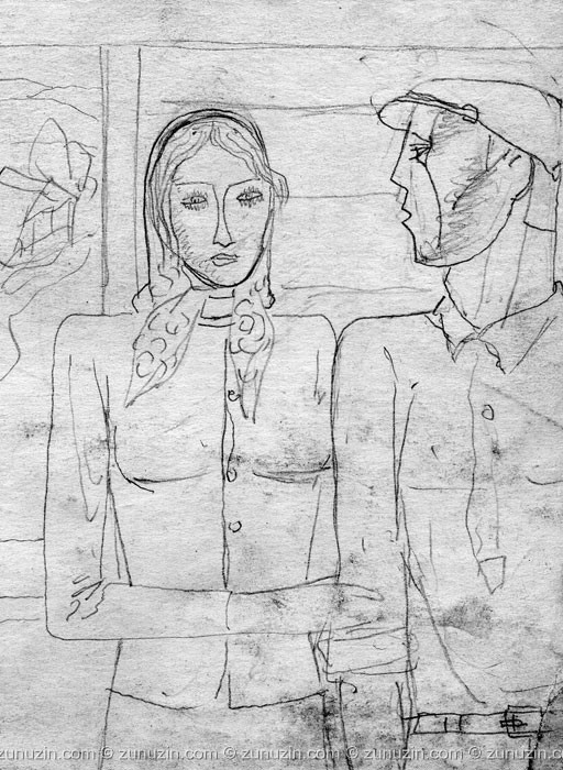 Pencil on paper drawing art - Man and Woman