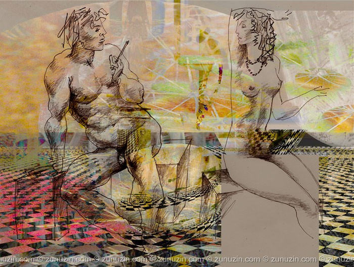 Digital art for sale - Painter and model II