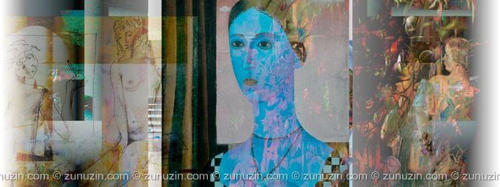 Digital fine art print on paper - Blue lady