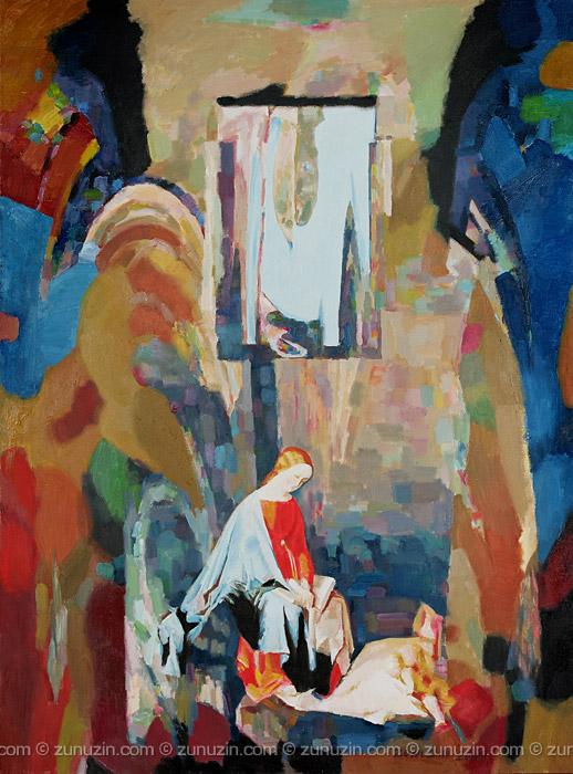 Original Oil Painting on Canvas and poster on canvas - Mother and child (Julius Schnorr von Carolsfeld Improvisation)