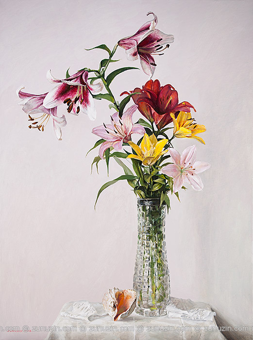 Lilies in a Crystal Vase and Seashell