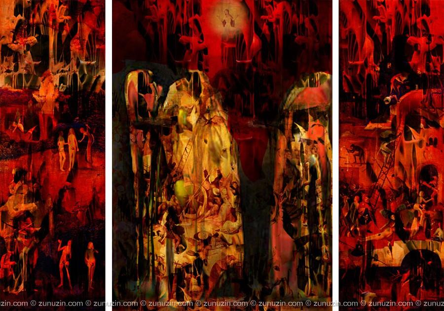 Triptych digital art for sale - Haystack (triptych) (Hieronymus Bosch Improvisation)