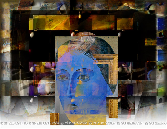 Blue lady: Portrait in frame
