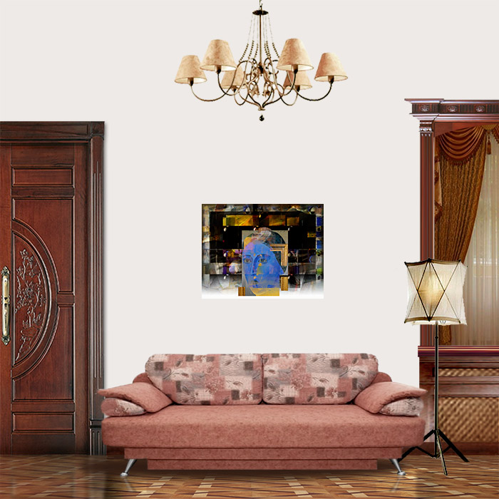 View in Room - Blue lady: Portrait in frame