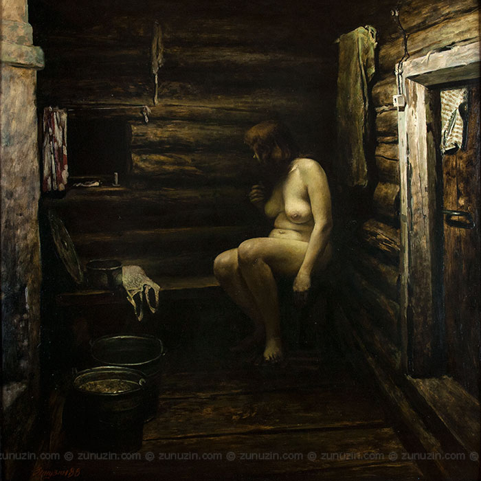 Figurative oil painting - Russian bath