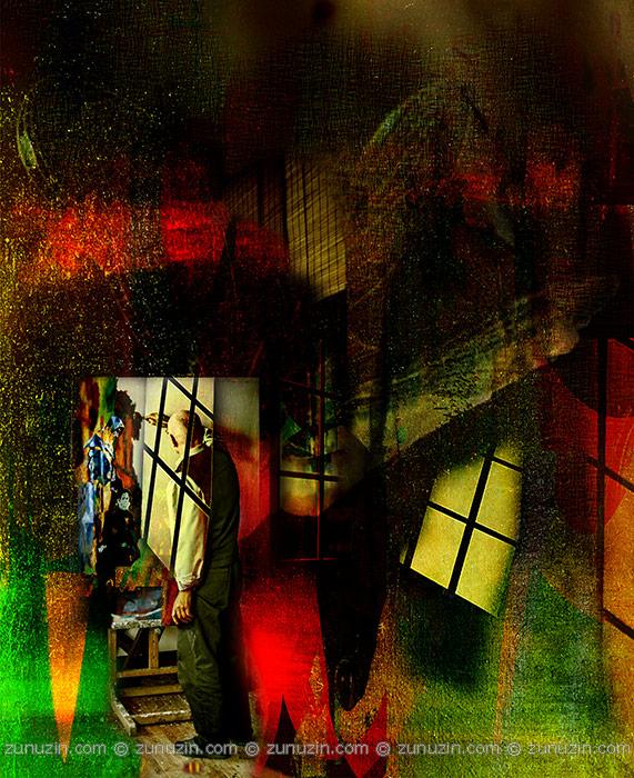 Twilight. Self-portrait in the studio
