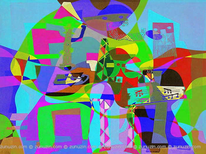 abstract art poster three musicians reflections on works by pablo