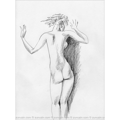 Pencil drawing art - Naked at the window