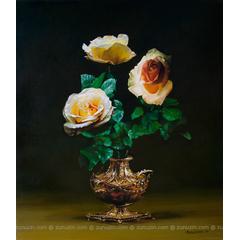 Roses in a Gold Vase